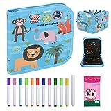 Libro de colorear para niños, reutilizable, 12 lápices de colores, portátil, fácil de limpiar, para niños, animales, bocetos, tiza, graffiti, tabla de dibujo con 14 páginas
