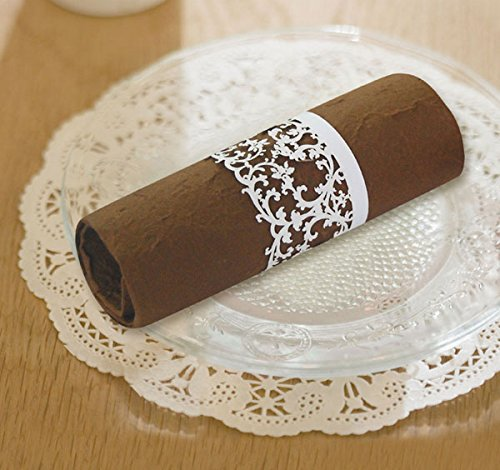 50 PCS Paper Lace Napkin Rings for Wedding Party Table Decoration (White)