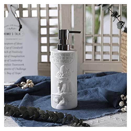 Dispensador de jabón Loción cerámica Botellada Creative Lotion Dispensador de baño Bomba de jabón de jabón Dispensador de jabón Encimera de Cocina 400 ml (Color : White)