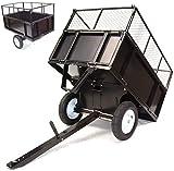 D+L Remorque basculante de 300 kg pour tondeuse à gazon - Transformateur de pelouse - Rabattable - Parois latérales rabattables