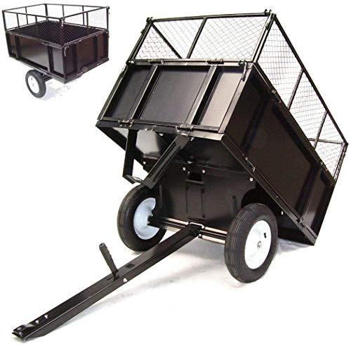 D+L Remolque para cortacésped, 300 kg, tractor de césped, KIPPBAR ATV, quad, inclinable, paredes laterales plegables