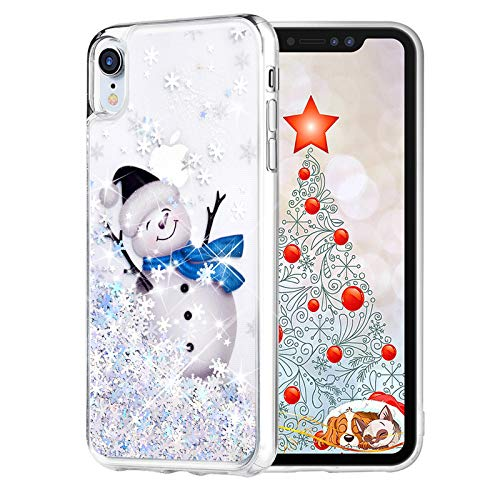 Maxdara Christmas Case for iPhone XR, Merry Christmas Snowman Pattern Glitter Liquid Bling Sparkle Pretty Cute Case for Girls Children Women Gifts XR Christmas Case 6.1 inches(Snowman)