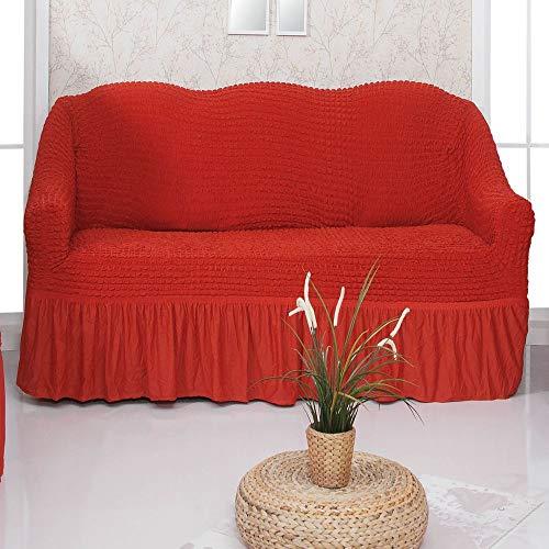 Mixibaby Sofabezug Sofahusse Sesselbezug Sitzbezug Sesselüberwurf Stretchhusse 2 er Sofa, Farbe:rot