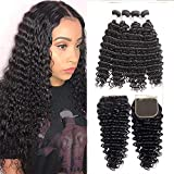 XYHair Brazilian Remy Deep Wave 4 Bundles with 44 Lace Closure Unprocessed Virgin Human Hair Weaves Natural Color Hair Extensions(12121414+10,Natural Black)