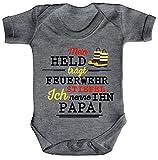 ShirtStreet Vatertag Feuerwehr Strampler Bio Baumwoll Baby Body kurzarm Papa - Mein Held trägt Feuerwehrstiefel, Größe: 0-3 Monate,Heather Grey Melange