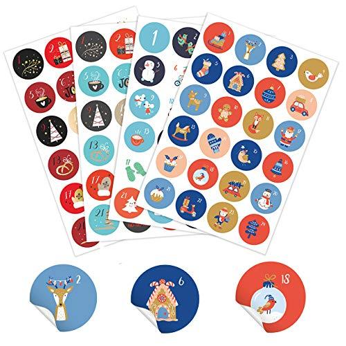 ANYUNKEY 4 x 24 Verschiedene Adventskalender Zahlen Aufkleber 24 Sticker groß Nummern Aufkleben für Weihnachten zum Selber Basteln und Dekorieren, Runde Weihnachtskalender Zahlenaufkleber 50mm 2020