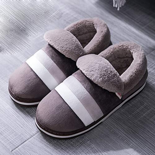 ZYING Zore Zapatillas de algodón de Invierno Inicio Zapatillas de Interior Invierno Antideslizante Resuelto Resuelto Zapatillas Zapatillas de Pelo Hombres (Color : Brown, Size : 42-43)