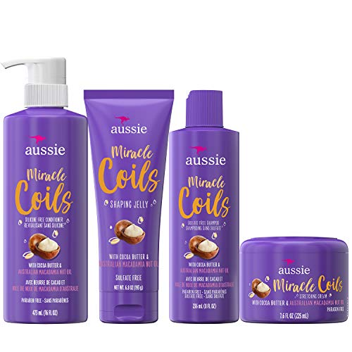 Aussie Miracle Coils Collection, Shampoo, Conditioner, Shaping Jelly and Stretching Cream, For Curly Hair, Made with Australian Macadamia Nut Oil, Sulfate and Paraben Free, White