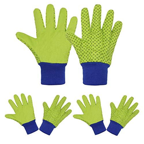 Gartenhandschuhe, 3 Paar, weiches und bequemes Design, für Kinder im Alter von 5–9 Jahren, S, Grüne Punkte, 3