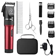 Sminiker Professional Low Noise Pet Clippers Rechargeable Cordless Cat Clippers Dog Trimmer Professi...