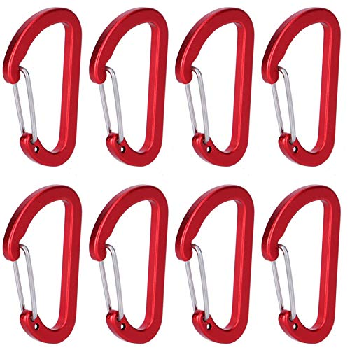 DAUERHAFT 8pcs Aluminum Carabiner Portable Snap Hook for Fishing