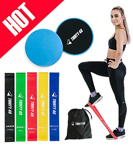 Thirty48 Gliding Discs Core Sliders and 5 Exercise Resistance Bands | Strength, Stability, and Crossfit Training for Home, Gym, Travel | User Guide & Carry Bag (Blue (Core Slider))
