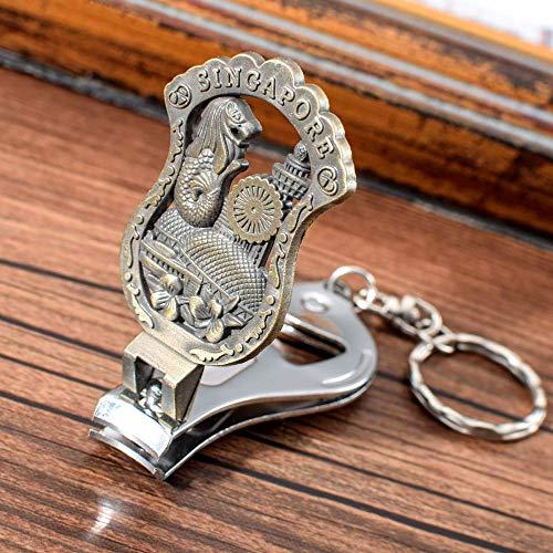 AMITD Schlüsselbund Schlüsselring Singapur Souvenir Clipper Cutter Schlüsselbund Singapur Symbol Merlion Muster Schlüsselanhänger Bier Opener Schlüsselring Für Männer Frauen
