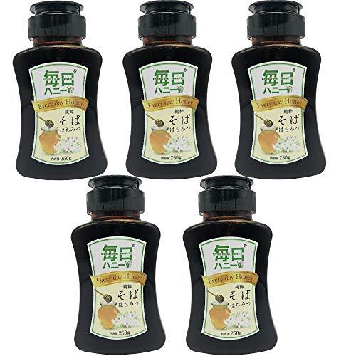 純粋そばはちみつ 蕎麦ハチミツ (250gx5本) 純正ソバ蜂蜜 100%純粋 無添加