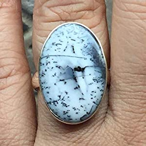 Russian Dendritic Agate 925 Solid Sterling Silver Ring