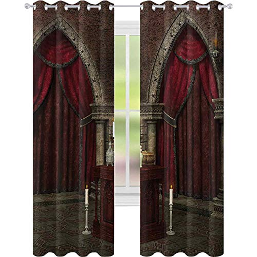 Printed Blackout Curtains, Mysterious Dark Room in Castle Ancient Pillars Candles Spiritual Atmosphere Pattern, W52 x L63 Living Room Bedroom Window Drapes, Red Black