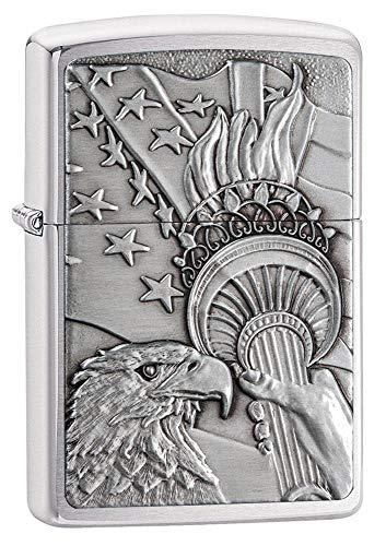Zippo Patriotic Eagle Brushed Chrome Emblem Pocket Lighter, One Size, Model Number: 20895