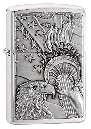 Zippo Patriotic Eagle Brushed Chrome Emblem Pocket Lighter One Size Model Number: 20895