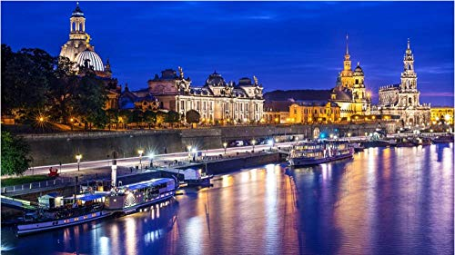 Nonebranded Diy Jigsaws Puzzles 500 Pieces Dresden River Landscape Boats Lights For Adult Child Festival Gift