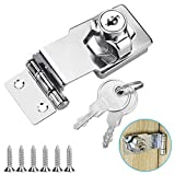 TANCUDER Small Hasp and Staple 90 Degrees Metal Lock Hasp 3 Inch/76mm Door Bolt Latch Buckle Safety Door Clasp Knob Shed Locks with Padlock, Key, Screws for Cabinets Cupboard Drawer Gate, Silver