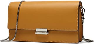 Cxhsz New Retro Casual Fashion Bills Shoulder Slung Small Handbag Female Cowhide Bag Casual Fashion (Color : Yellow)