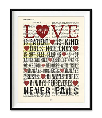 Love is Patient Love is Kind, 1 Corinthians 13:4-8 Christian Unframed Art Print, Vintage Bible Verse Scripture Wall and Home Decor Poster, Wedding Gift, 8x10 Inches