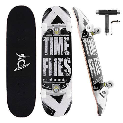 Colmanda Skateboard 79x20cm 31 Zoll 7-Lagiger Kanadischer Ahorn, Komplettboard mit ABEC-7 Kugellager, Skateboard mit Rucksack & Skate T-Tool für Anfänger Kinder Jugendliche Erwachsene (Schwarz-A)