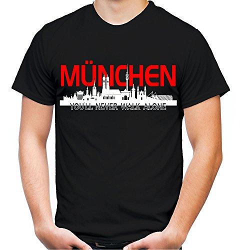 München Skyline Männer und Herren T-Shirt | Fussball Ultras Geschenk | M2 (XXXXL, Schwarz)