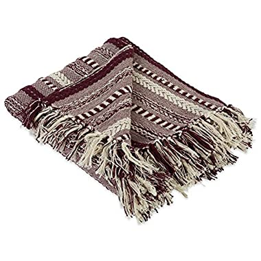DII Farmhouse Cotton Stripe Blanket Throw with Fringe For Chair, Couch, Picnic, Camping, Beach, & Everyday Use , 50 x 60  - Braided Stripe Blackberry