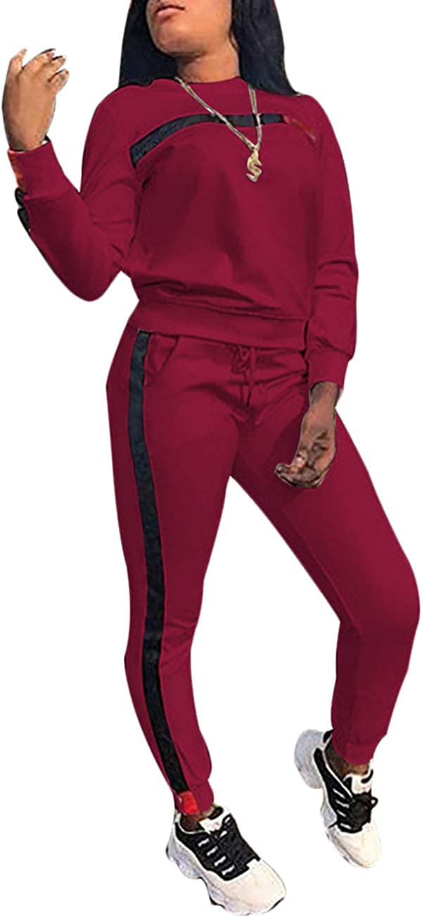 KANSOON Women Stripe Patchwork Two Piece Sweatsuit Round Neck Pullover and Skinny Long Pants at  Women's Clothing store