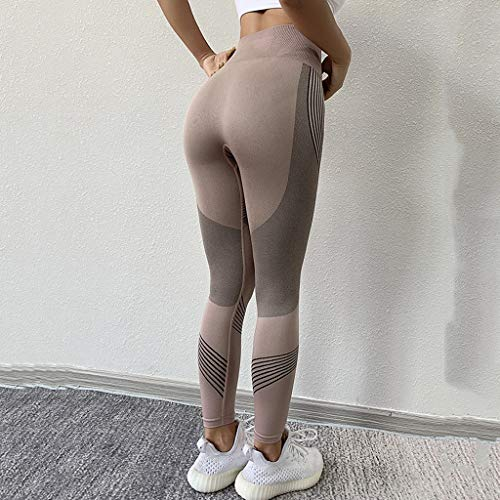 JFTMY Frauen Fitness Jogging Yoga Pants Nahtlose Gamaschen Gymnastik-Mädchen Leggins hohe Taillen-Push-Up-Sport-Training Laufen Gymwear (Color : Brown, Size : XL Code)