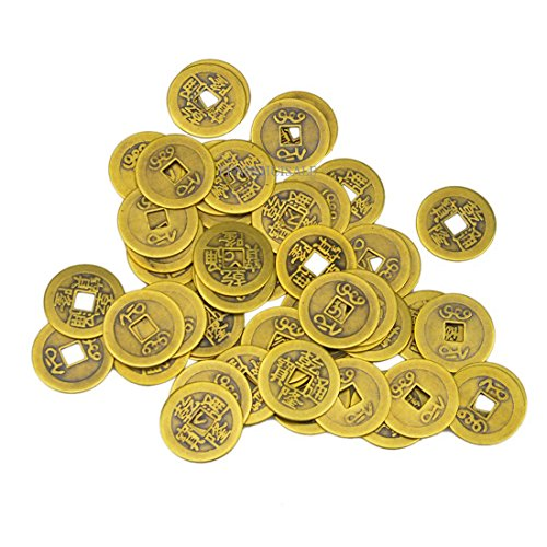 50 Large Brass Chinese I Ching Coins for Feng Shui (1.1'/27 mm) AA139