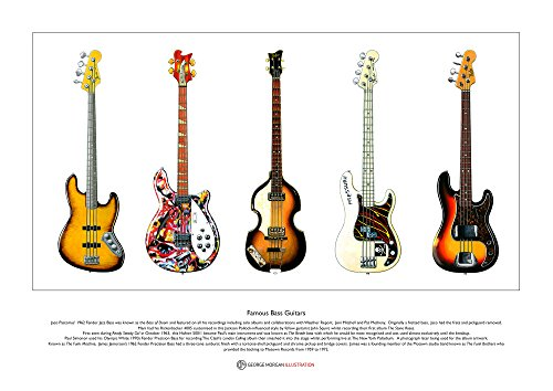 George Morgan Illustration Berühmte Bass-Gitarren Limitierte Fine Art Print A3 Größe