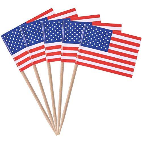 SHATCHI Zahnstocher mit US-Flagge, für Cupcake-Dekorationen im 4. Juli (50 Stück/200 Stück/500 Stück), multi, 50pcs