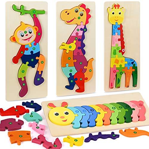 Fabu 4pz Puzzles de Madera Educativos para Bebé niños 2 3 4 5 6 años, Rompecabezas de Madera Bebe Puzzle Bebé Preescolar Juguetes Regalos Material Seguro Regalo de cumpleaños Navidad