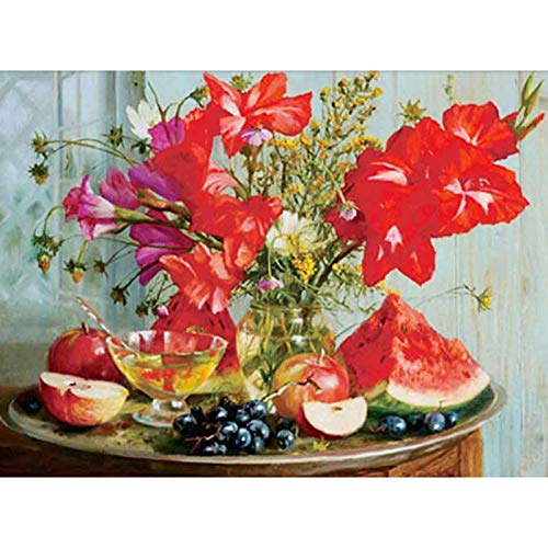 5D Full Round Drill Diamond Painting Rhinestone Diamond Embroidery Pictures for DIY Home Art Painting Decoration Still Life Oil Painted Flowers and Fruits on Table 15.7x11.8 in by LANSUER