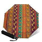 Paraguas compacto de viaje con diseño tribal étnico sin costuras, plegable, plegable y automático, con tres pliegues, ligero y ligero