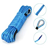 Kohree Synthetic Winch Rope-1/4'x 50'-7700lbs, Durable Winch Cable ATV Winch Rope for SUV UTV ATV Winches Truck Boat (Blue)