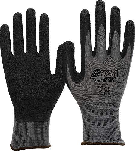 NITRAS Nylotex 3520 Nylon-Latexhandschuhe Arbeitshandschuhe 12 PAAR, Grau/Braun, 9
