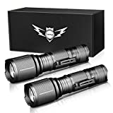 LETMY LED Tactical Flashlight, Ultra Bright 2000 Lumen XML T6 LED Flashlights, High Lumen, Zoomable, 5 Modes, Water Resistant Flash Light for Camping Accessories, Emergency Gear, 2 Pack