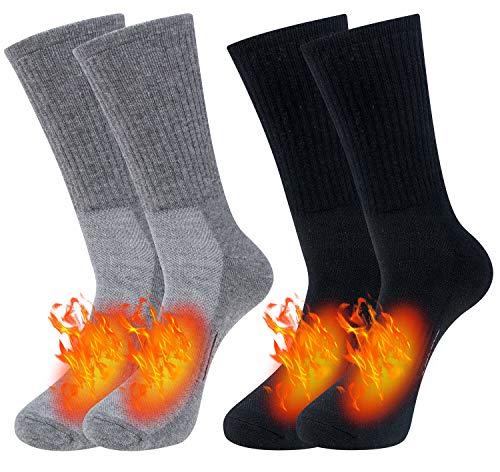 Chalier 2 Paar Merino Socken Herren Wollesocken, Wandersocken Trekkingsocken Anzugsocken atmungsaktive Funktionssocken für alle Aktivitäten (EU 39-42, 43-46) MEHRWEG