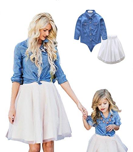 Linnuo Vestido Madre e Hija Camisetas Tops Blusas Jeans & Falda Tutú Tul Ballet Vestido Mujeres Niña Familia Fiesta (Azul, Blanco,S (Mamá))