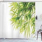 Alvaradod Cortina de Ducha de bambú,ilustración de Hoja de bambú para el Bienestar,Salud,pureza Fresca,impresión artística Tranquila,Verde Blanco con 12 Ganchos de plástico de 180 x 180cm