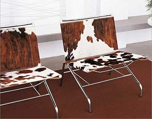 NEUERRAUM Ausgefallener Kuhfell Sessel Lounge Chair, Kuhfell Cocktail Sessel, echtes Kuhfell Braun Weiß.