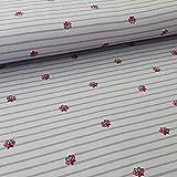 Jersey Stoff Meterware Streifen und Schmetterlinge weiß