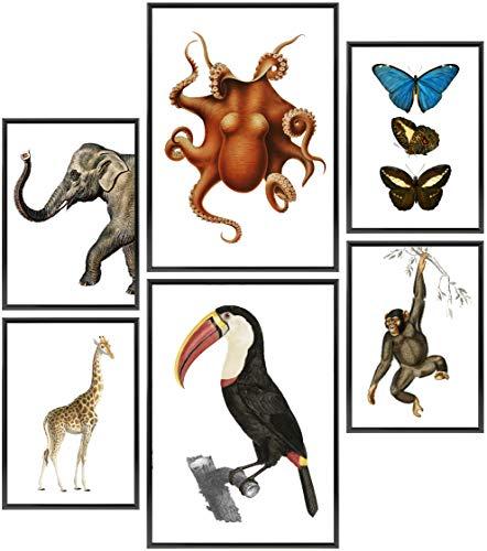 Wolfenthal Vintage Edition Poster Set »Tiere« | Stilvolles Set mit passenden Bilder als Wohnzimmer Deko | 2 x DIN A3 & 4 x DIN A4 - ca. 30x40 & 20x30 | ohne Bilderrahmen