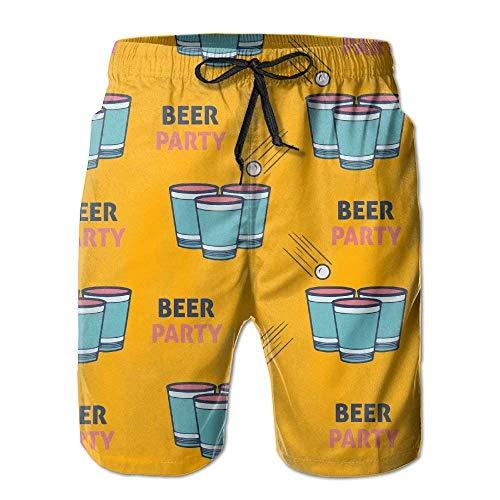 Yuanmeiju 205 Pantalones Cortos Casuales para Hombre/niño Traje de baño Pantalones de Playa con Cintura elástica y Bolsillos