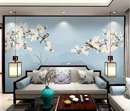 HONGYUANZHANG Rosa Blumen, Fliegende Vögel Benutzerdefinierte 3D-Fototapete Künstlerische Landschaft Tv Hintergrundbild,140Inch (H) X 172Inch (W)