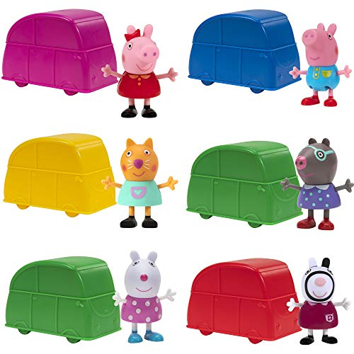 Peppa Pig Car Surprise Blind Figure Collectibles - 6 Pack Mini Cars, Includes 1 Exclusive Mystery Figure Inside Each Pack - Toys for Kids - Amazon Exclusive
