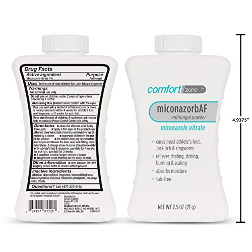 Comfort Zone Miconazorb Antifungal Powder, Talc-Free, Miconazole Nitrate 2%, Helps Cure Most Athlete's Foot, Jock Itch…